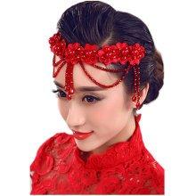 Flower Rhinestones Beads Bridal Wedding Lace Headband Hair Accessories, D