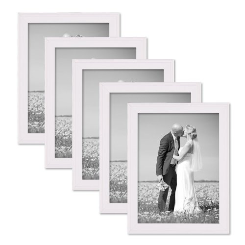 Set of 5 Picture Frames with Dimensions of 15x20 cm / 8 x 6 Inch, in White, Solid Wood, Country-House-Style, including Accessories/Photo Frames