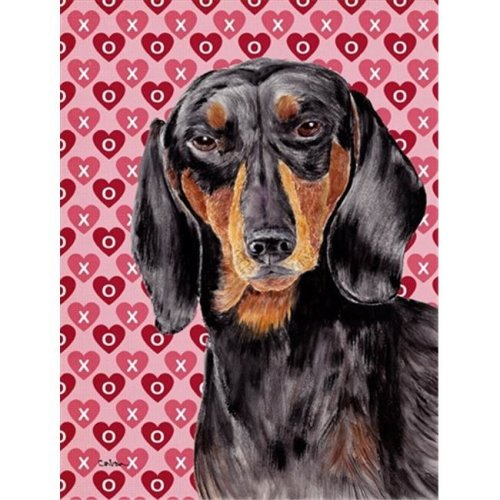Carolines Treasures SC9276GF 15 x 15 In. Dachshund Black Tan Hearts Love Valentines Day Flag, Garden Size