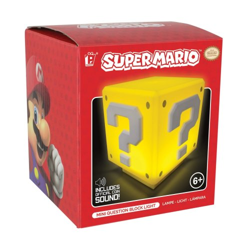 Nintendo Super Mario Mini Question Block Night Light Mood Lamp Sound Touch ON