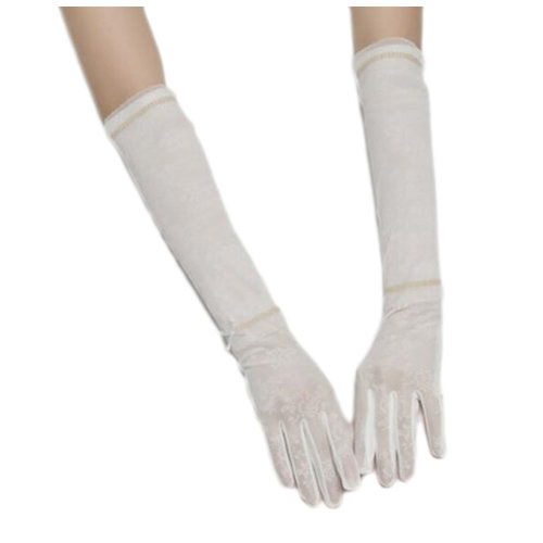 New Lace Outdoor Sunscreen Clothing Women Gloves Breathable Thin Sun Protective Sleeves-White