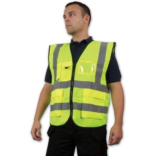 Click WCENGEXECXXL Hi Vis Yellow Executive Waist Coat Vest With Reflective Stripes EN471 Class 2 XXL