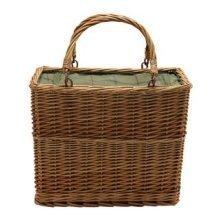 Green Tweed Rectangular Wicker Cooler Basket
