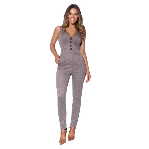 Women Ladies Woven Check Fitted V Neck Jumpsuit Office Suit Work Pencil Trousers