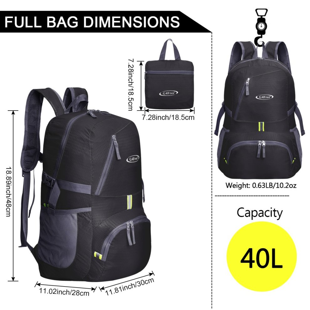 2fb17b1fcc ... Camping G4Free 30L Ultra Lightweight Tear   Water Resistant Foldable  Backpack Packable Rucksack for Travelling