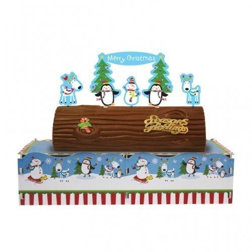 Joyful Snowman Christmas Cake Log Stand.5cm h x 34cm w - Tableware 996774