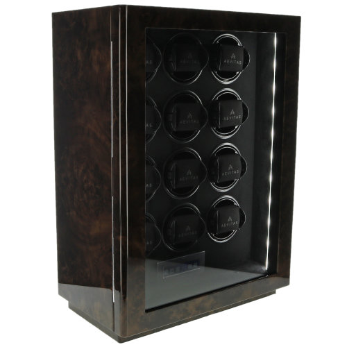 12 Watch Winder Dark Burl Wood Finish Classic Collection by Aevitas