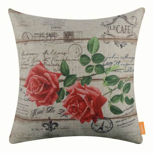 """18""""x18"""" Vintage Pink Rose Wood Plank Design Burlap Pillow Cover Cushion Cover"""
