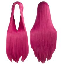 Center Parting Long Straight Cosplay Wig for Halloween Anime Fans [Rose Red]