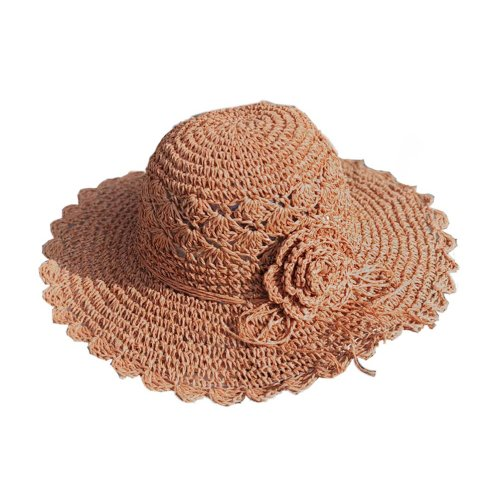 Womens Summer Straw Hat With Flower Foldable Sun Visors Girls Hats, Orange