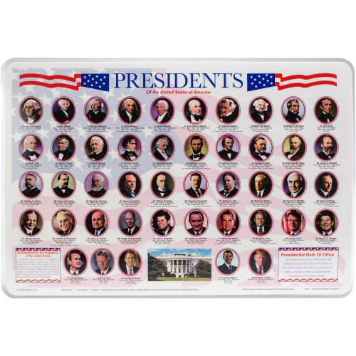 """Painless Learning Laminated Placemats 17.5""""X12.25""""-Presidents"""
