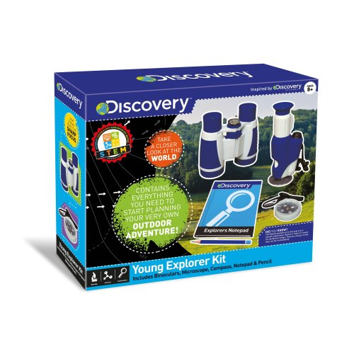 Discovery Young Explorer Set With Binoculars, Microscope, Compass, Notebook And Pencil Educational Ages 8 Years+