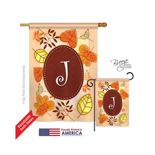 Breeze Decor 30036 Autumn J Monogram 2-Sided Vertical Impression House Flag - 28 x 40 in.