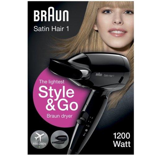 Braun Style&Go Satin Hairdryer 1 Womens Travel Mini Travel Heat Protect UK HD130