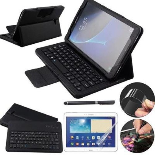 Galaxy Tab A 10.1 Keyboard Case with Screen Protector & Stylus, REAL-EAGLE Slim Separable Fit PU Leather Case Cover Bluetooth Keyboard