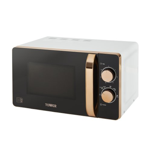 Tower T24020W Manual Solo Microwave, 800 W, 20 liters, White and Rose Gold