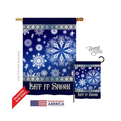 Breeze Decor 14076 Winter Let It Snow Dream 2-Sided Vertical Impression House Flag - 28 x 40 in.