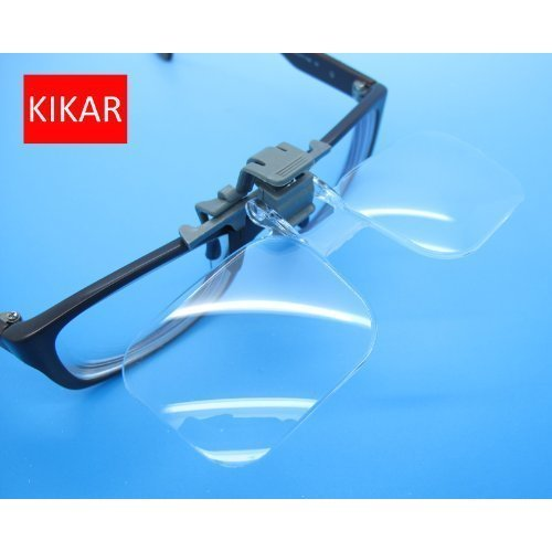 KIKAR Clip 'n' Flip (2x Power / +4.00 Diopters) Clip on Flip Up Plastic Power Magnifying Glass - Fit All Specs