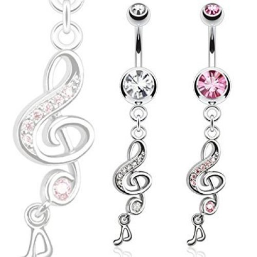 Crystal Encrusted Treble Clef Music Note Dangle Belly Bar