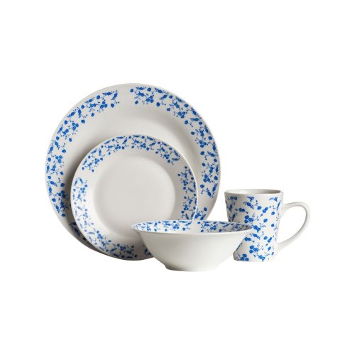 Avie 12Pc Casablanca Dinner Set, Blue & White