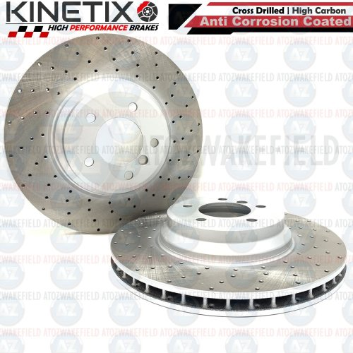 FOR BMW 335d E93 FRONT DRILLED KINETIX PERFORMANCE BRAKE DISCS PAIR 348mm COATED