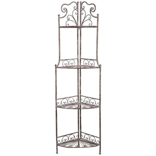 Multipurpose Wrought Iron Made Antiqued Rust Finish W46xdp32xh155 Cm Sized Collapsible Cornered ?tag?re