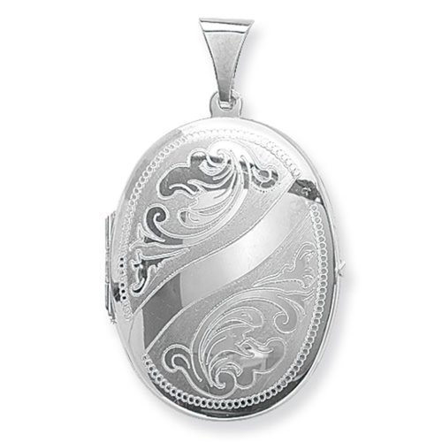 Childrens Sterling Silver Small Engraved Oval Locket On A Curb Necklace