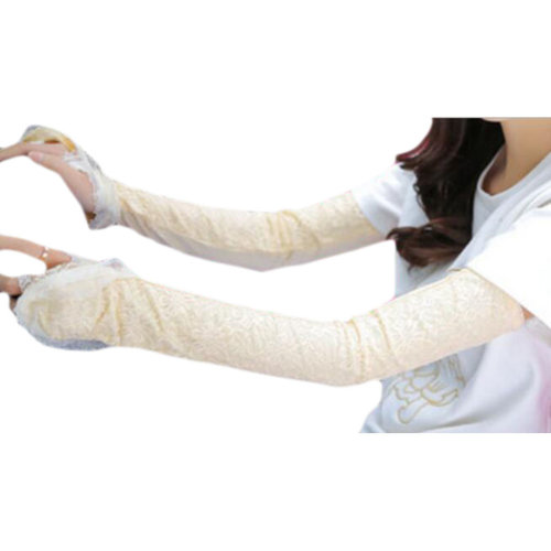 Lace Cotton Outdoor Sunscreen Clothing Women Gloves Breathable Sun Protective Sleeves-Light Yellow