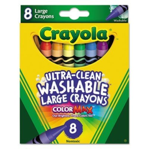 Ultra Clean Washable Crayons Large 8 Colors Box Sold as 8 Each
