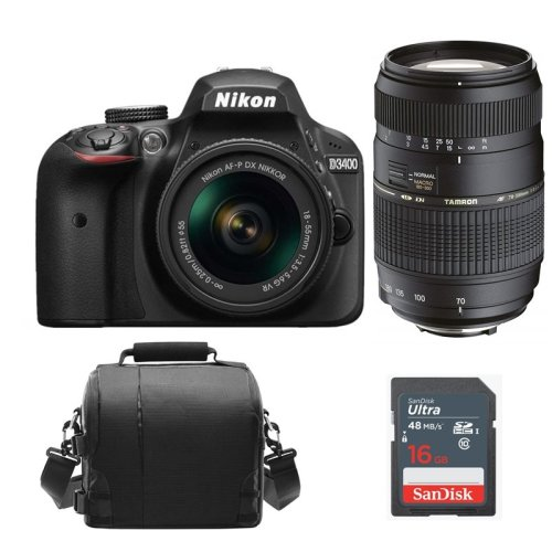 NIKON D3400 +AF-P 18-55mm F3.5-5.6G+TAMRON AF 70-300mm+Bag+16G SD card