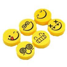 Set of 6 Lovely Happy Expressions Eraser, Pencil Eraser Stationery Gift
