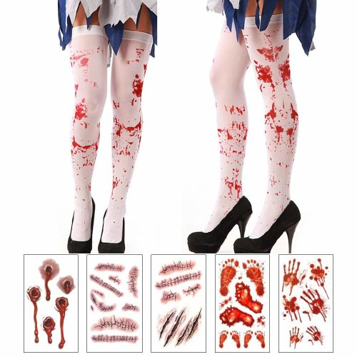 obqo Halloween Blood Stains Stockings with 5 Sheets Temporary Tattoos for Halloween Fancy Dress Costume Accessory