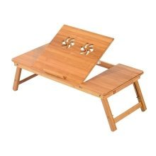 Homcom Adjustable & Foldable Laptop Table | Bamboo Laptop Tray