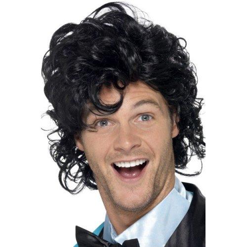 Black Men's 80's Prom King Perm Wig -  wig prom king perm 80s black mens fancy dress 1980s smiffys