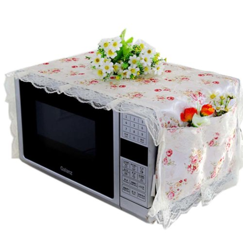 Elegant Flowers Design Microwave Oven Protective Cover Dust-proof Cover, D