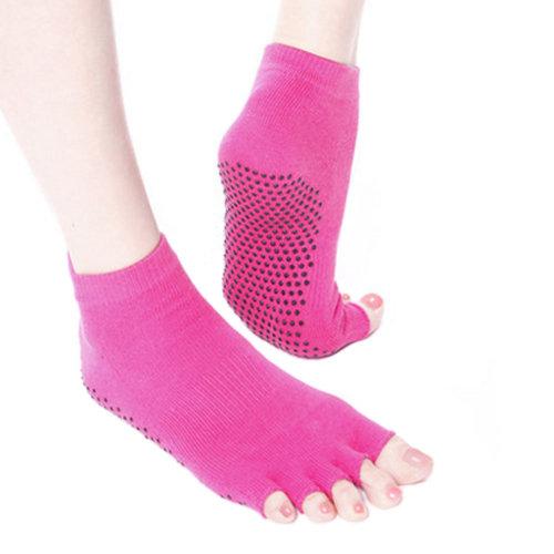 Women's Non Slip Half Toe Yoga Socks Strong Grip Cotton, Rose Red
