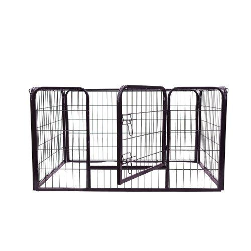 Pawhut Dog Pet Puppy Metal Rabbit Pig Hutch Run Black Large, 125 X 80 X 70 Cm