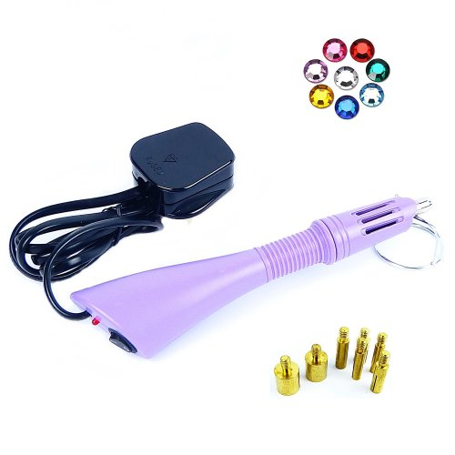 Rhinestone Applicator - Electric Nail Art Tool for Beads with 7 Tip Sizes